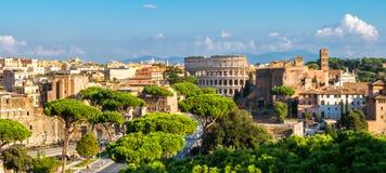 De Horizon van Rome met Colosseum en Roman Forum, Italië stock foto's