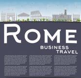 De horizon van Rome met grijze oriëntatiepunten en exemplaarruimte Royalty-vrije Stock Fotografie