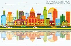 De Horizon van Sacramento de V.S. met Kleurengebouwen, Blauwe Hemel en Reflec vector illustratie