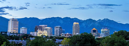 De horizon van Salt Lake Cuty Utah Stock Fotografie