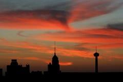 De horizon van San Antonio bij zonsondergang Stock Foto