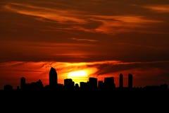 De horizon van San Diego bij zonsondergang Stock Fotografie