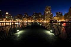De horizon van San Francisco bij nacht Stock Foto's
