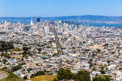 De horizon van San Francisco van Tweelingpieken in Californië Stock Foto