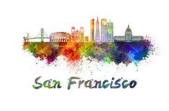De horizon van San Francisco in waterverf stock illustratie