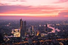 De horizon van satellietbeeldbangkok van Mahanakorn-de Bouw in Bangkok, Thailand royalty-vrije stock foto's
