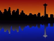 De horizon van Seattle bij schemer royalty-vrije illustratie