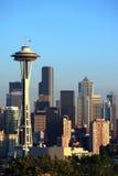 De horizon van Seattle bij zonsondergang, de staat van Washington. Stock Foto