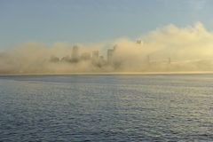 De Horizon van Seattle in de Ochtendmist Stock Fotografie