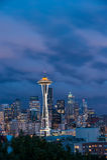 De horizon van Seattle, van Koningin Anne Hill royalty-vrije stock afbeeldingen