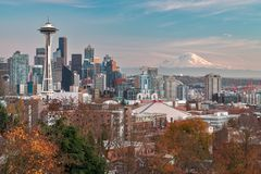 De Horizon van Seattle in Washington State de V.S. royalty-vrije stock fotografie