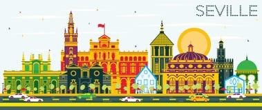 De Horizon van Sevilla met Kleurengebouwen en Blauwe Hemel vector illustratie