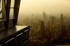 De horizon van Shanghai met hallo stijging van voorgrond Royalty-vrije Stock Afbeeldingen