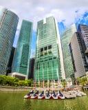 De horizon van Singapore van bedrijfsdistrict en Marina Bay royalty-vrije stock foto