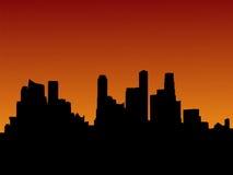 De horizon van Singapore bij zonsondergang vector illustratie