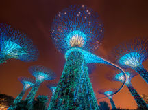 De Horizon van Singapore en mening van Marina Bay Royalty-vrije Stock Fotografie