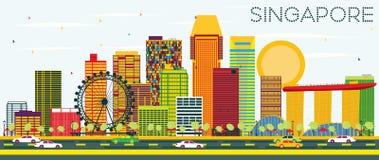 De Horizon van Singapore met Kleurengebouwen en Blauwe Hemel royalty-vrije illustratie