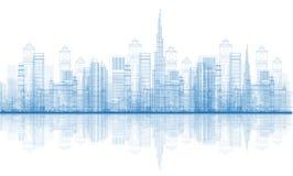 De Horizon van de Stadswolkenkrabbers van overzichtsdoubai Royalty-vrije Stock Foto's