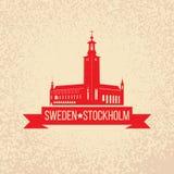 De Horizon van Stockholm met het symbool van Zweden royalty-vrije illustratie
