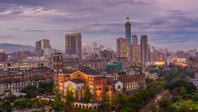 De horizon van Taipeh, Taiwan stock videobeelden