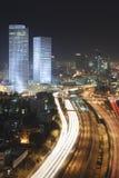 De horizon van Tel Aviv - de stad van de Nacht stock fotografie