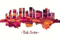 De horizon van tel. Aviv Israel in rood stock illustratie