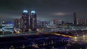De Horizon van Tokyo bij nacht stock video