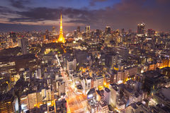 De horizon van Tokyo, Japan met de Toren van Tokyo bij nacht Stock Foto's