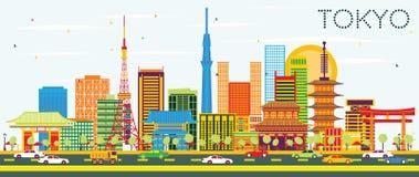 De Horizon van Tokyo met Kleurengebouwen en Blauwe Hemel royalty-vrije illustratie
