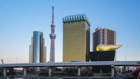De horizon van Tokyo met oriëntatiepuntgebouwen tegen Sumida rivierdag aan nachttijdspanne in de stad van Tokyo, Japan stock video