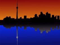 De horizon van Toronto bij schemer stock illustratie