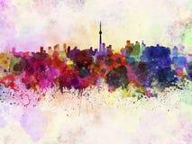 De horizon van Toronto op waterverfachtergrond royalty-vrije illustratie