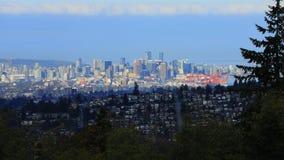 De horizon van Vancouver van Burnaby, Canada wordt gezien dat stock foto