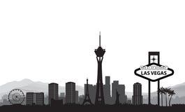 De horizon van Vegas van Las Het oriëntatiepuntachtergrond van de reis Amerikaanse stad royalty-vrije illustratie