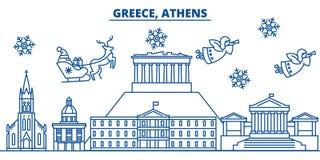 De horizon van de de winterstad van Griekenland, Athene Vrolijke Kerstmis, gelukkig nieuw jaar stock illustratie