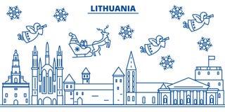 De horizon van de de winterstad van Litouwen Vrolijke Kerstmis, Gelukkige Nieuw royalty-vrije illustratie