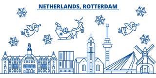 De horizon van de de winterstad van Nederland, Rotterdam vrolijk royalty-vrije illustratie