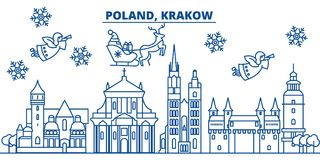 De horizon van de de winterstad van Polen, Krakau Vrolijke gelukkige Kerstmis, vector illustratie