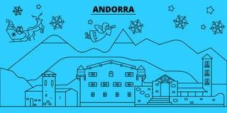 De horizon van de de wintervakantie van Andorra, Andorra Vrolijke Kerstmis, Gelukkige Nieuwjaar verfraaide banner met Santa Claus stock illustratie