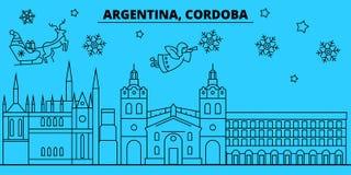 De horizon van de de wintervakantie van Argentinië, Cordoba Vrolijke Kerstmis, Gelukkige Nieuwjaar verfraaide banner met Santa Cl vector illustratie