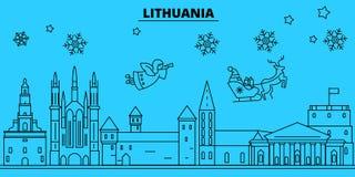 De horizon van de de wintervakantie van Litouwen Vrolijke Kerstmis, Gelukkige Nieuwjaar verfraaide banner met Santa Claus Lineair vector illustratie