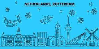 De horizon van de de wintervakantie van Nederland, Rotterdam Vrolijke Kerstmis, Gelukkige Nieuwjaar verfraaide banner met Santa C vector illustratie
