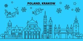 De horizon van de de wintervakantie van Polen, Krakau Vrolijke Kerstmis, Gelukkige Nieuwjaar verfraaide banner met Santa Claus Po royalty-vrije illustratie