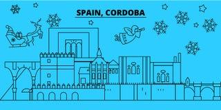 De horizon van de de wintervakantie van Spanje, Cordoba Vrolijke Kerstmis, Gelukkige Nieuwjaar verfraaide banner met Santa Claus  royalty-vrije illustratie