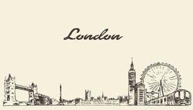 De horizon vectorhand getrokken gegraveerde schets van Londen Royalty-vrije Stock Foto