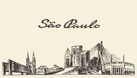 De horizon vectorillustratie getrokken schets van Sao Paulo Stock Afbeelding