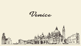 De horizon vectorillustratie getrokken schets van Venetië Stock Foto