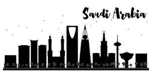 De horizon zwart-wit silhouet van Saudi-Arabië Stock Afbeeldingen