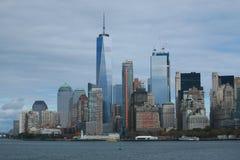 De horizonpanorama van het Lower Manhattan Stock Afbeeldingen
