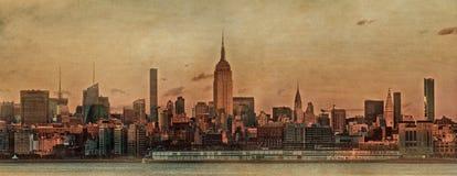 De horizonpanorama van Manhattan bij zonsondergang De Stad van New York Royalty-vrije Stock Foto